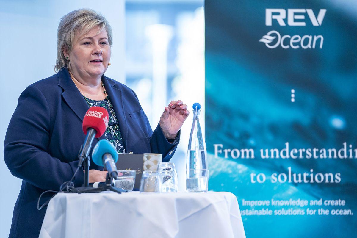 Statsminister Erna Solberg taler under lanseringen av World Ocean Headquarters (WOH). Foto: Heiko Junge / NTB scanpix