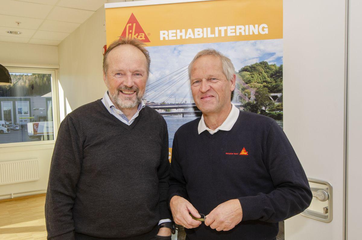 Fagsjef for betongrehabilitering Per Rismark (til venstre) og prosjektgruppesjef Erik Daleng i Sika Norge.
