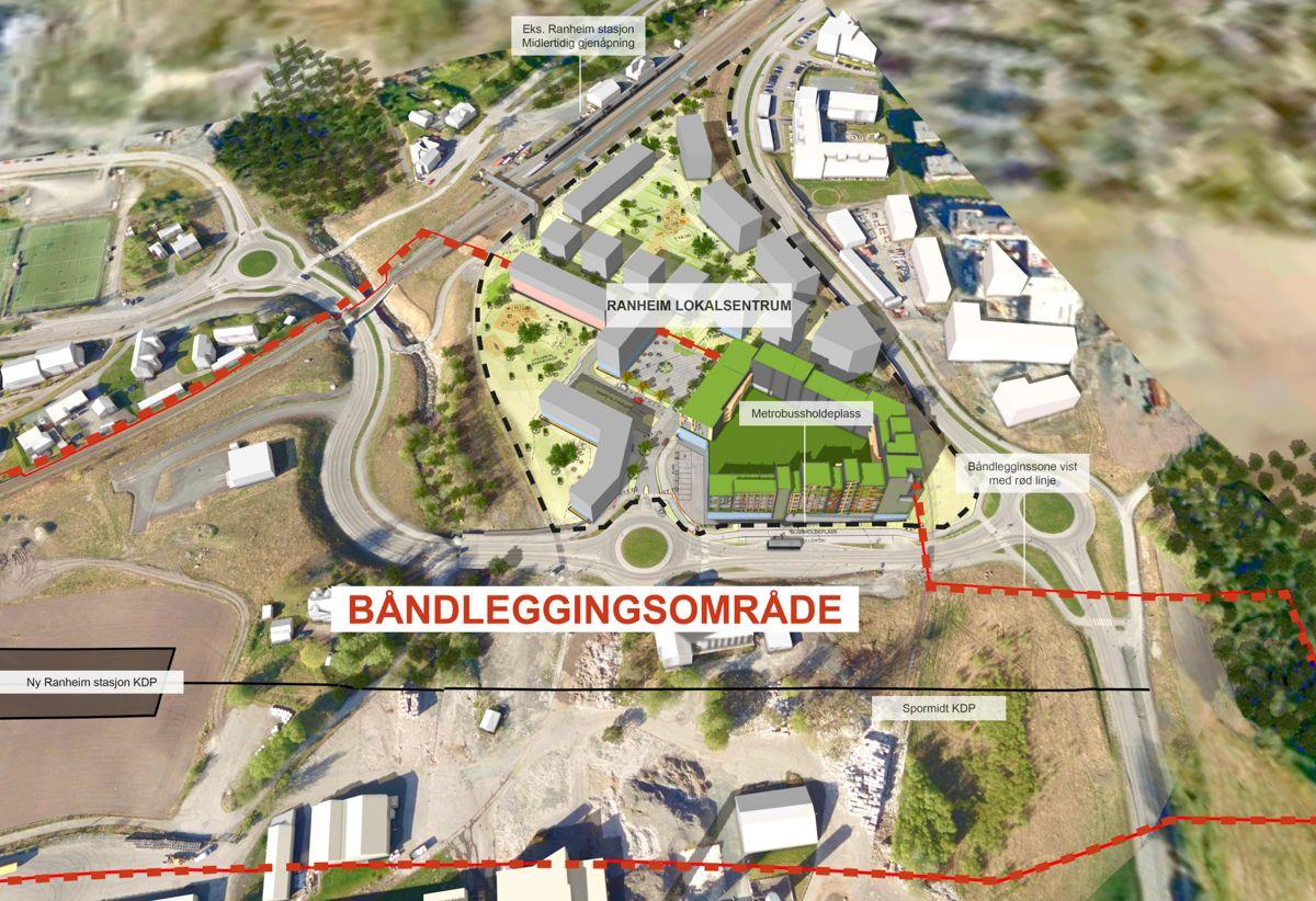 Den røde stiplede linjen markerer Bane NORs båndleggingsområde, og den sorte stiplede linjen markerer Veidekke og Coops planlagte eiendomsutvikling. Senterutviklingen er også integrert i Trondheims superbussprosjekt. Illustrasjon: Veidekke Eiendom