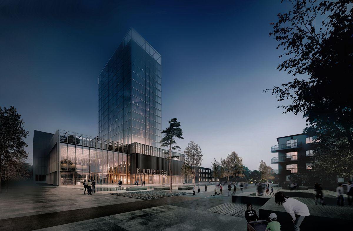 Skellefteås nye kulturhus. Illustrasjon: White arkitekter
