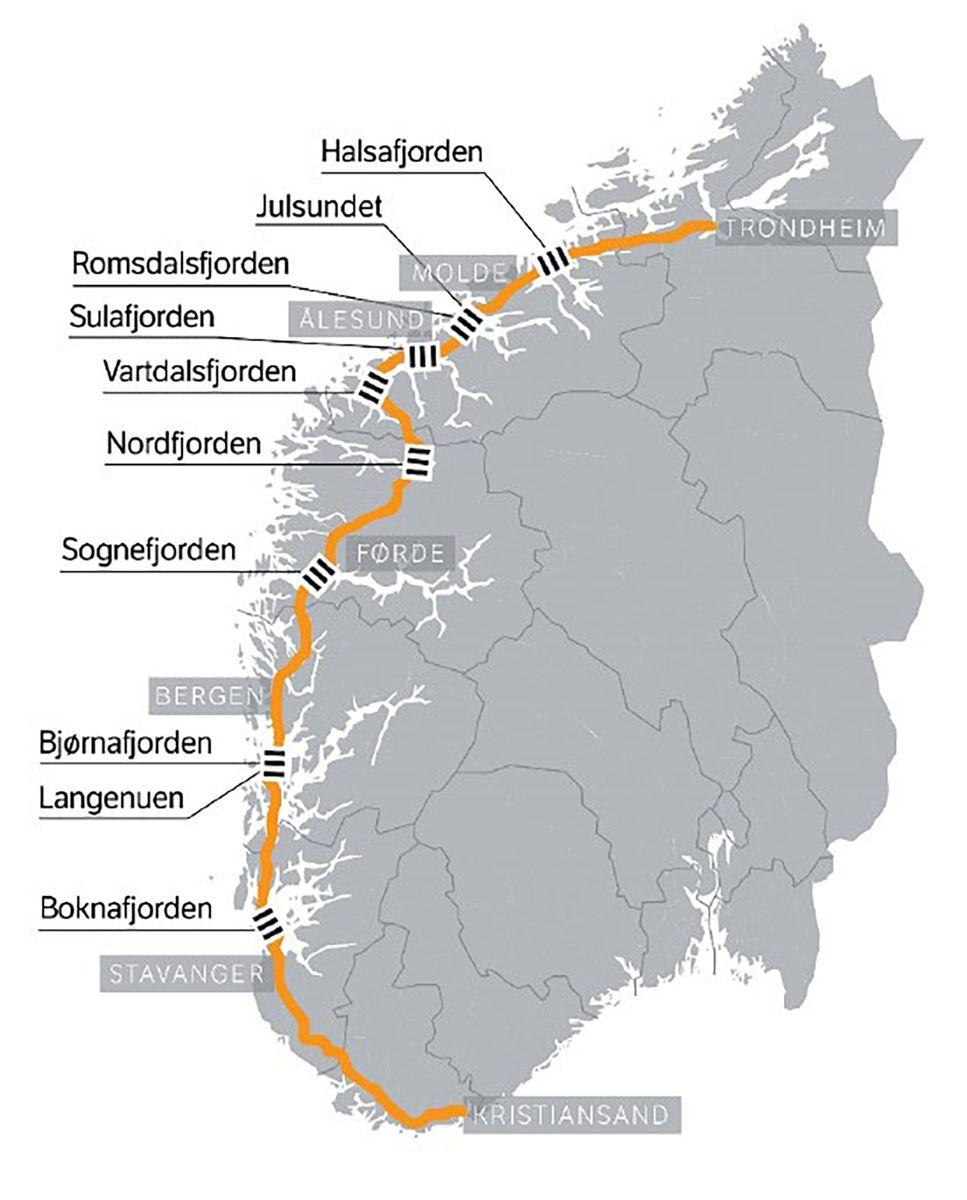Ferjefri E39 vil kreve syv store fjordkryssinger, men vil kunne redusere reisetiden mellom Kristiansand og Trondheim med over 10 timer.