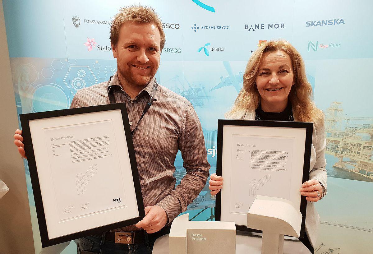 Ole Morten Skaret (Veidekke) og Evy Sæther (SiT).