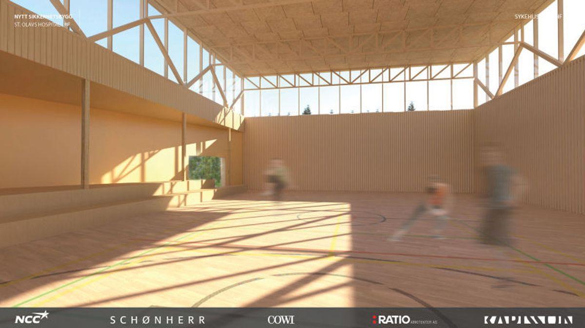 Lys og fin gymsal for at de som er dømt til tvungen behandling skal stimuleres til positiv aktivitet. Illustrasjon: NCC, Schönherr, COWI, Ratio arkitekter AS, Karlsson arkitekter