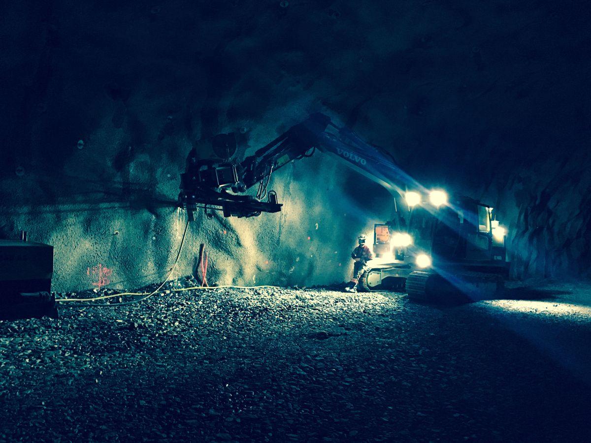 Fra arbeidet med Jobergtunnelen i Granvin. Foto: Svein Arne Tyssebotn