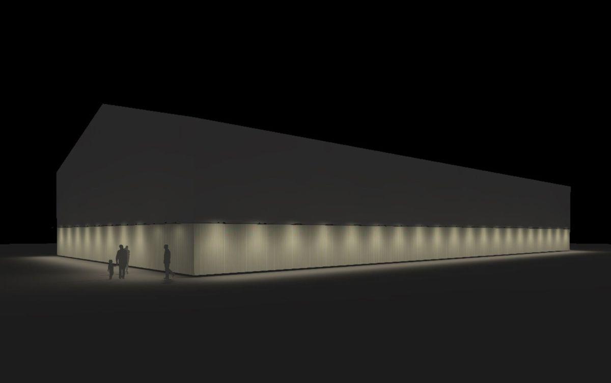 Hallen vil, ifølge pressemeldingen, få utvendig fasadebelysning, og bidra til å lyse opp en litt mørk Monradsgate. Illustrasjon: Rambøll