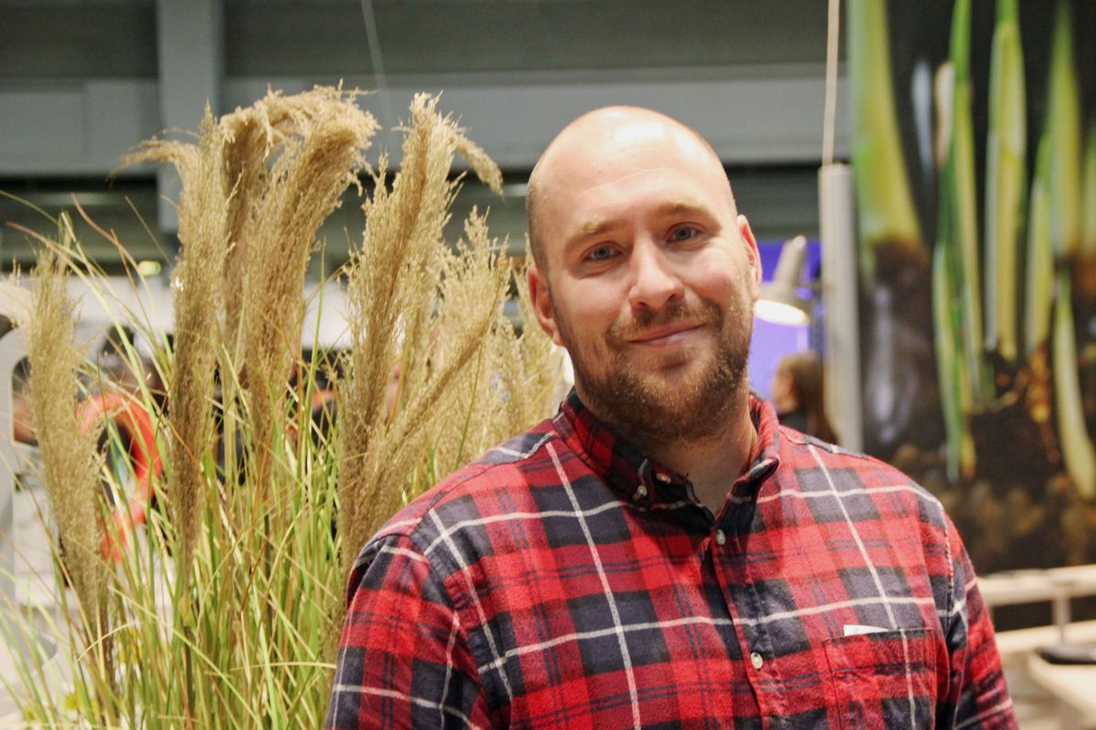 Ruben Høie, daglig leder i Anleggsgartnerfirma Strandman på Park- og anleggsmessen 2018. Foto: Svanhild Blakstad
