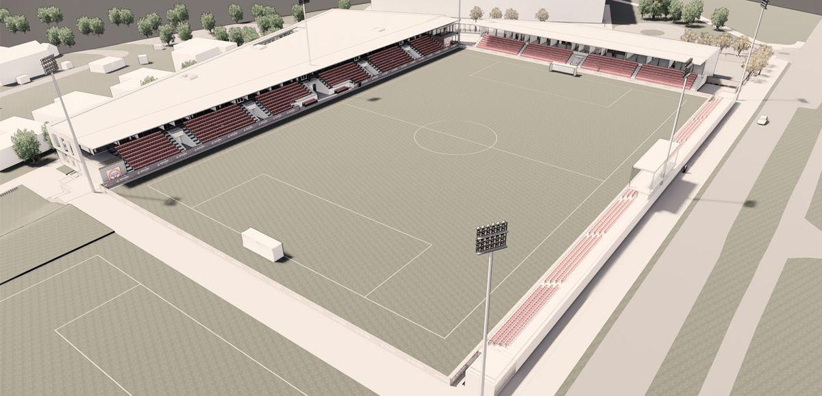 Slik vil nye KFUM arena bli sett fra øst. Illustrason: HRP