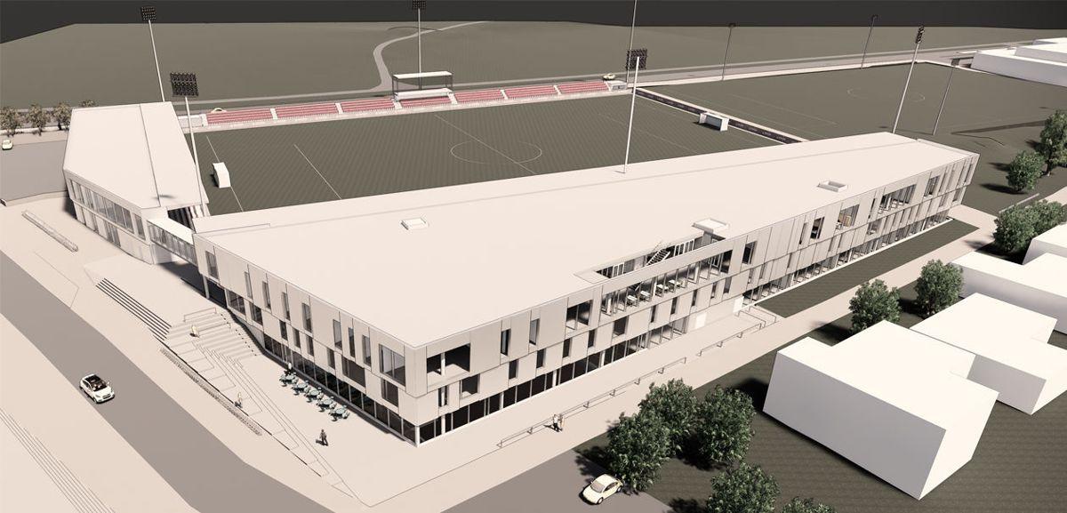 Slik vil nye KFUM arena bli sett fra vest. Illustrason: HRP