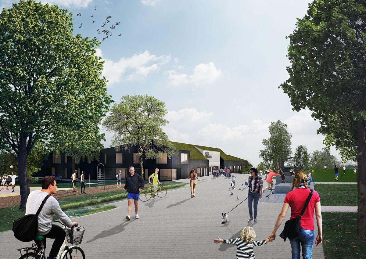 Grorud flerbrukshus vil ha tre hovedfunksjoner som består av en flerbrukshall, klubbhus for Grorud IL, samt en barnehage. Illustrasjon: Link arkitektur