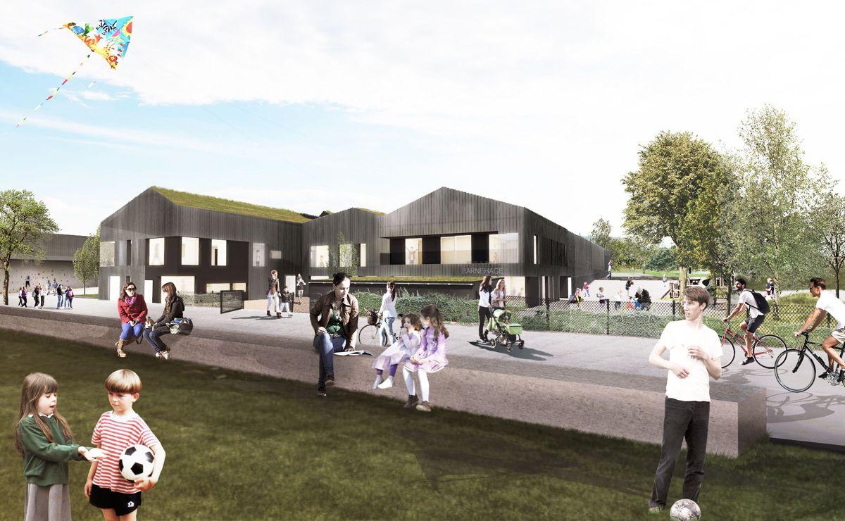 Grorud flerbrukshus får en sentral plassering på Grorud mellom Groruddammen og Grorud skole, i nær forbindelse til de eksisterende fotballbanene i området. Illustrasjon: Link arkitektur