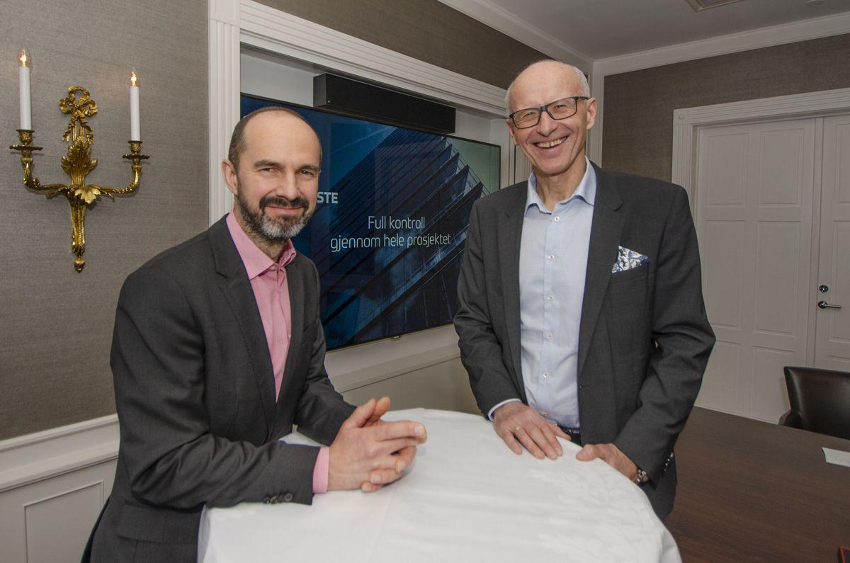 Avdelingsleder for BIM Rupert Hanna (til venstre) og administrerende direktør Halvard Gavelstad i Byggtjeneste vil gi entreprenørene full kontroll gjennom hele prosjektet med ProsjektDok.