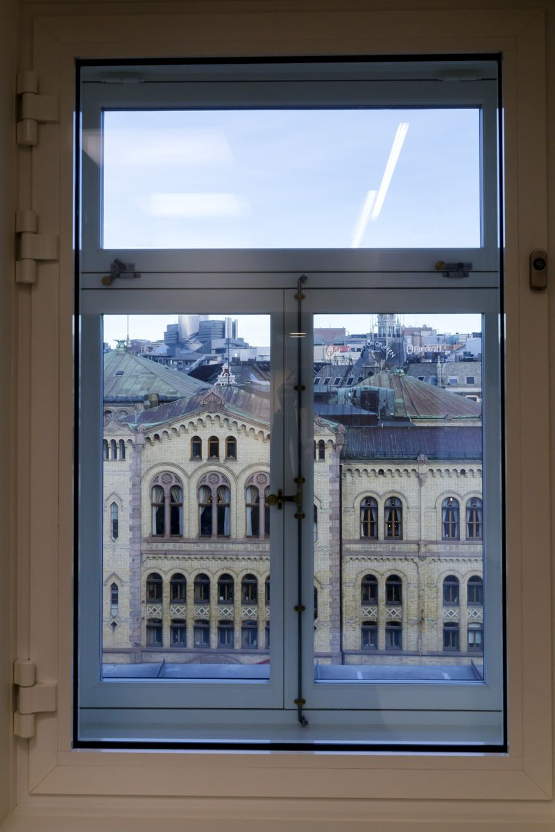 Utsikt fra et av cellekontorene i Stortingets nye lokaler i Prinsens gate 26 som skal tas i bruk i midten av januar. Foto: Cornelius Poppe / NTB scanpix