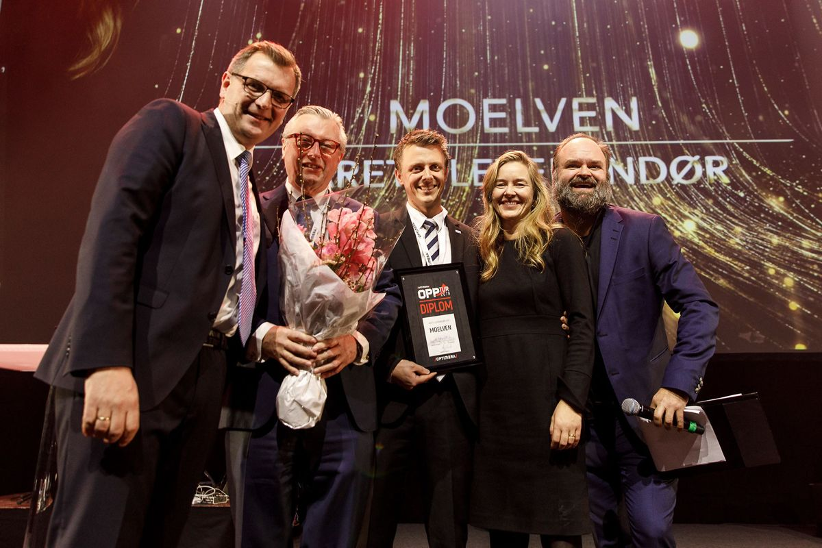 Stor glede hos Moelven som stakk av med prisen Årets Leverandør 2018. Årets leverandør er stemt frem av salg og drift i Optimera.