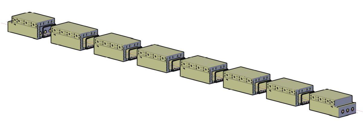 Bruelementene monteres i en rekke for å danne ferdige bjelker som satt side ved side vil utgjøre en komplett brukasse. Illustrasjon: Spanbeton