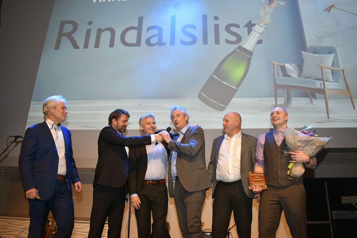 Marketingsjef Ottar Hansen (f.v.), toastmaster Thomas Numme, Thomas Johnsen, Per Gjestvang, Kollbjørn Hellestø og Jan Ivar Buljo fra Rindalslist.