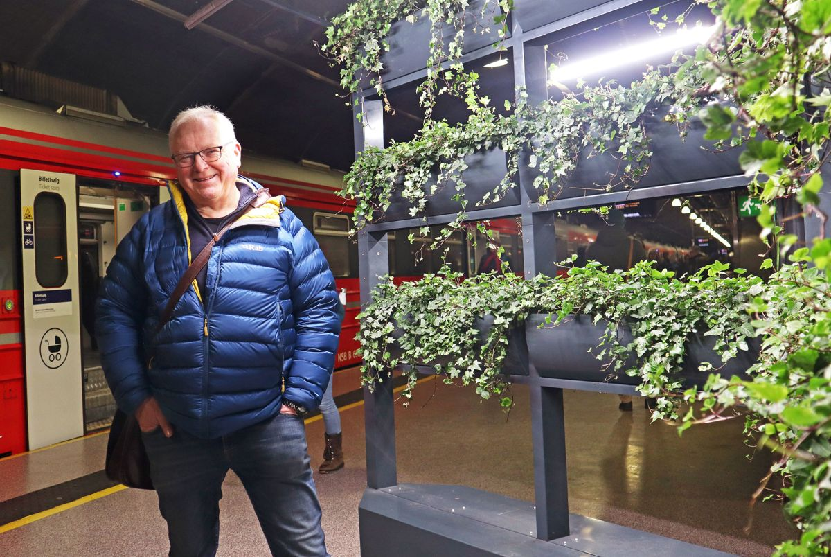 <p>PILOTPROSJEKT: – Det er ingen naturgitte forutsetninger for at planter skal etablere seg og vokse i en fjelltunnel, men så langt ser det lovende ut, sier anleggsgartnermester og ekspert på grønne vegger, Arvid Ekle i Biowall. Her viser han frem en av planteveggene på Nationaltheatret stasjon som skal skape bedre luftkvalitet og trivsel for de reisende. Foto: Svanhild Blakstad</p>