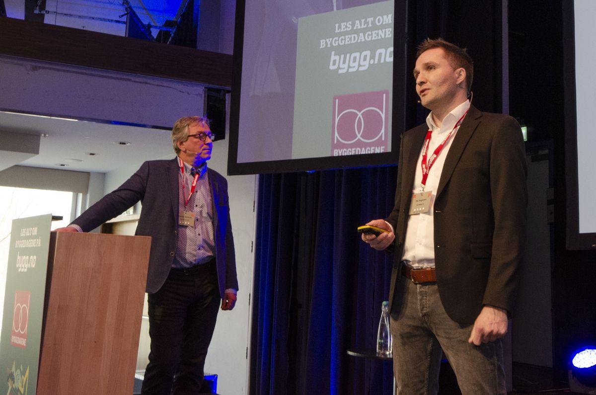 Karsten Hjertholm i Stor-Oslo Eiendom (til venstre) og Ola Jorgensen i BundeBygg fortalte om aktiv usikkerhetsstyring i Meierikvartalet. Foto: Sindre Sverdrup Strand