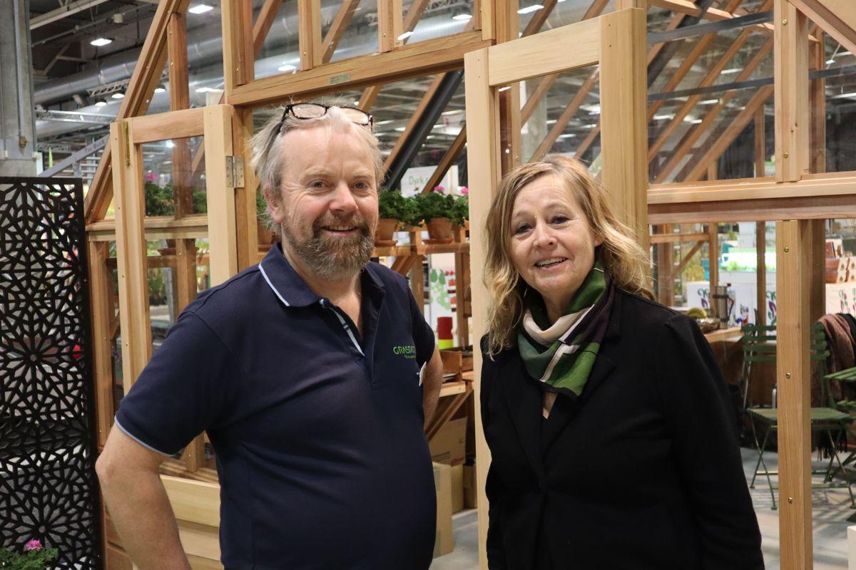 Jostein Sundby i Bergknapp og Jeanette Grønli i Solfang er to av utstillerne på Hagemessen 2019. Foto: Svanhild Blakstad