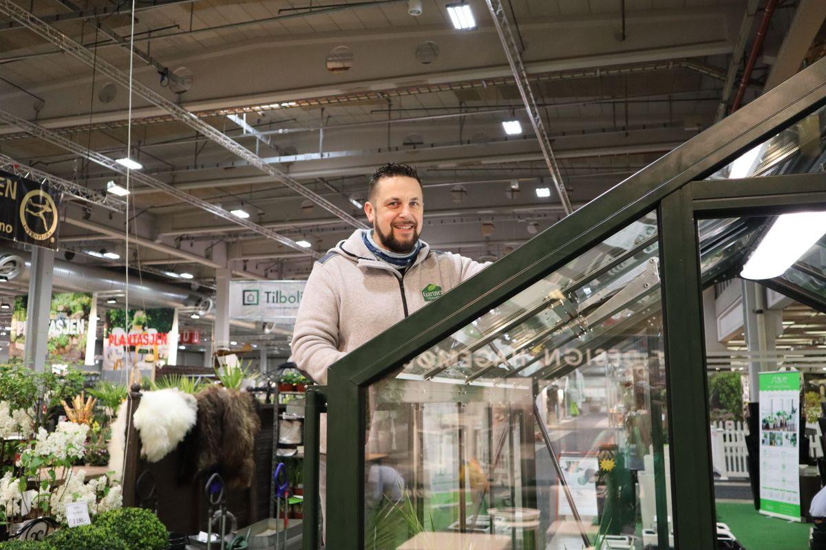 En rekke drivhusleverandører er med på årets hagemesse. Foto: Svanhild Blakstad