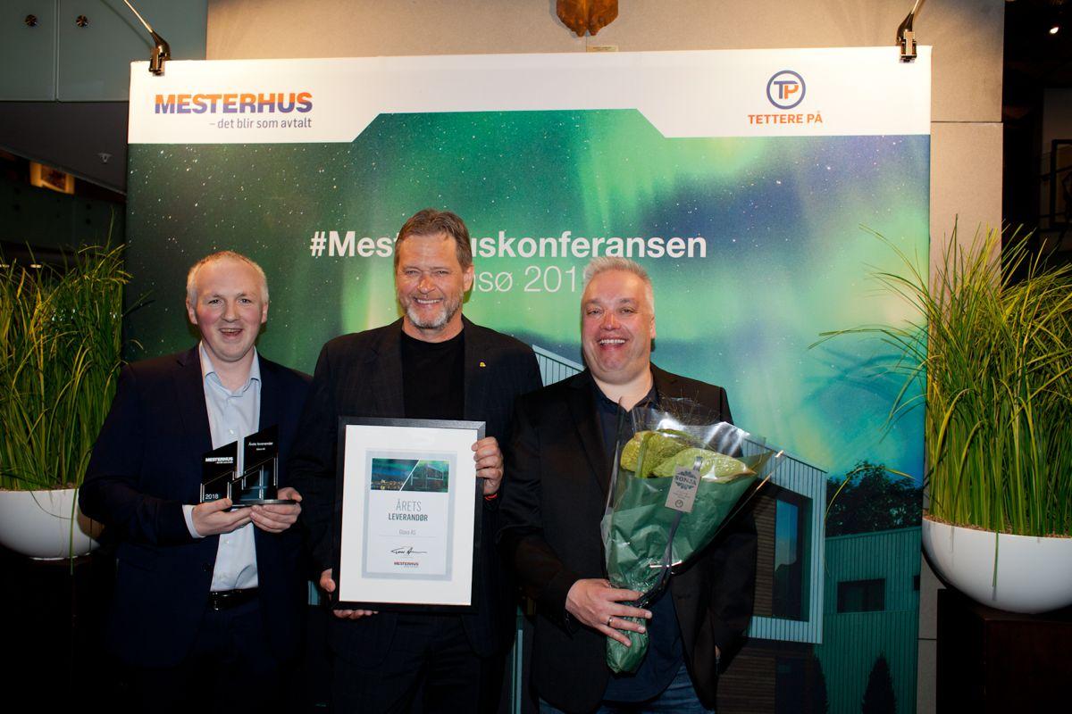Årets Leverandør: Glava AS. Fra venstre mot høyre, Aleksander Nilsen, Bjørn Grasdal og Yngve Haugen. Foto: Stina Grønbech