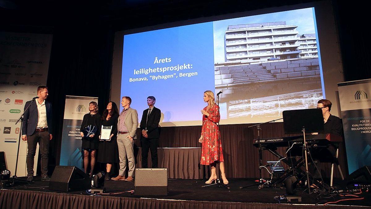 """Vinneren av prisen """"Årets leilighetsprosjekt"""" ble Bonava med prosjektet Byhagen i Bergen."""