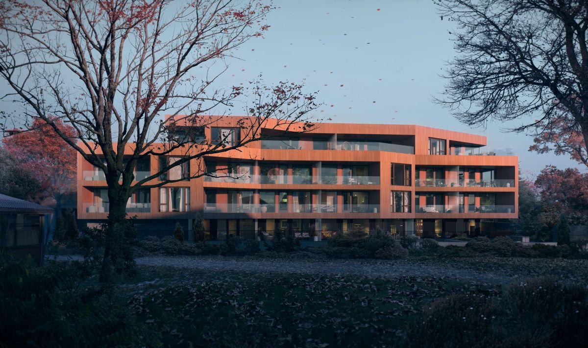 Villa P vil bestå av 20 leiligheter. Illustrasjon: Lund + Slaatto Arkitekter / MIR