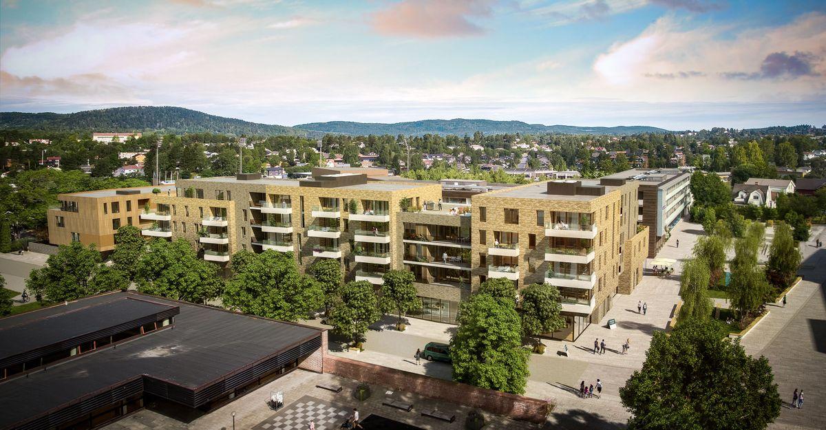 I Meglergården bygges 60 leiligheter. 48 leiligheter legges ut for ordinært salg, og de resterende leilighetene er omsorgsboliger for Bærum kommune. Illustrasjon: Lund + Slaatto Arkitekter