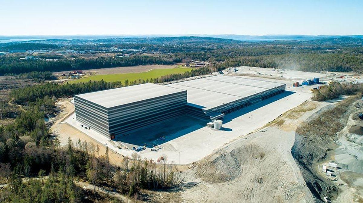 Lengden på bygget er på 380 meter. Foto: Østfold Lagerbygg
