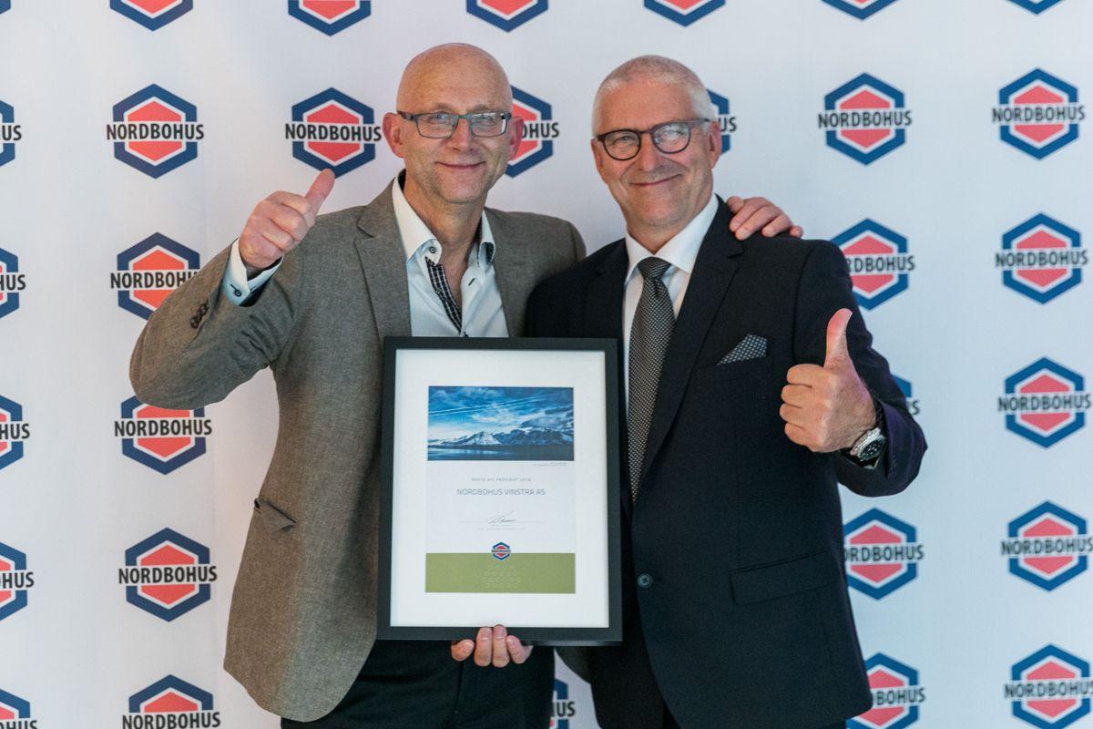 Årets beste kundetilfredshet 2018 i prosjektmarkedet gikk til Nordbohus Vinstra. Jan Wien (t.v) og Morten Randen tok i mot prisen.
