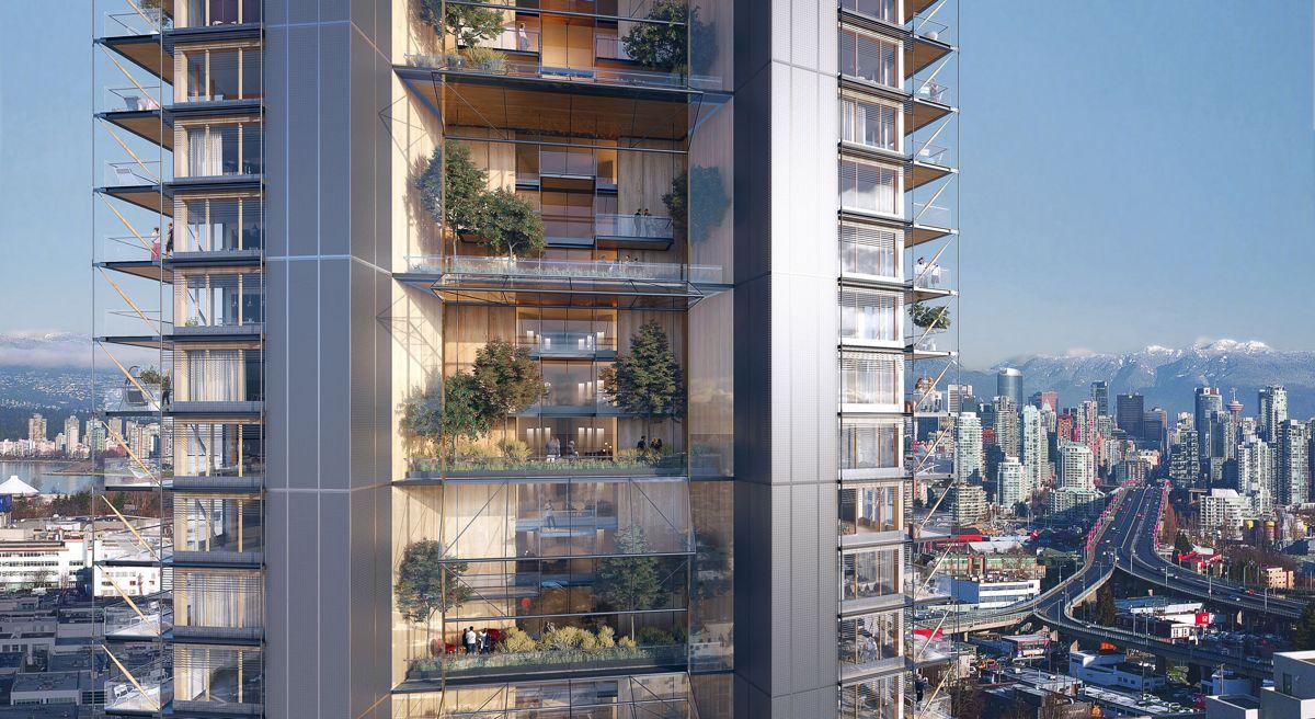 Vancouver i Canada kan ta tilbake rekorden for verdens høyeste trebygning etter at norske Mjøstårnet tok førsteplassen i 2017. Illustrasjon: Perkins+Will / Delta Land Development