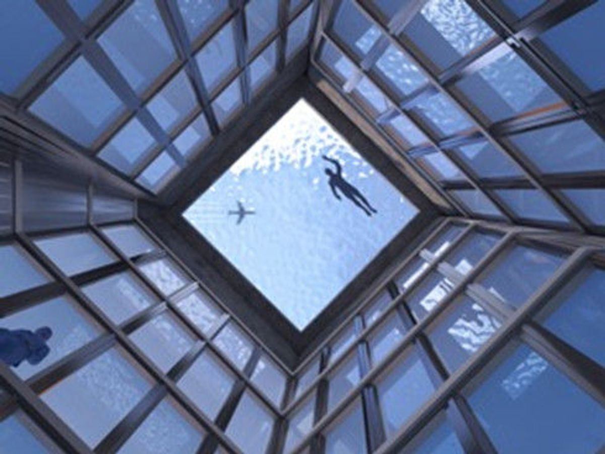 Toppetasjen på Infinity London er noe utenom det van(n)lige. Illustrasjon: Compass Pools
