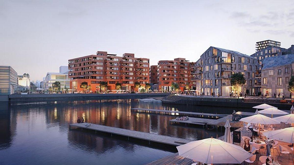 Illustrasjonen viser Munch Brygge sett fra øst når boligene i Vannkunsten står ferdig. Ill.: © 3D-modell Bjørvika og Oslo S-området www.bjorvikautvikling.no/3d-modell/ Juni 2019.