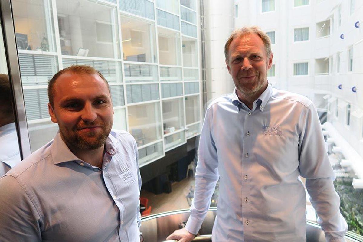 Prosjektleder Ståle Olsen (til høyre) og anleggsleder Aleksander Søgnen i NP Bygg AS har gjennomført et topp rehabiliteringsarbeid med Thon Hotel Cecil.
