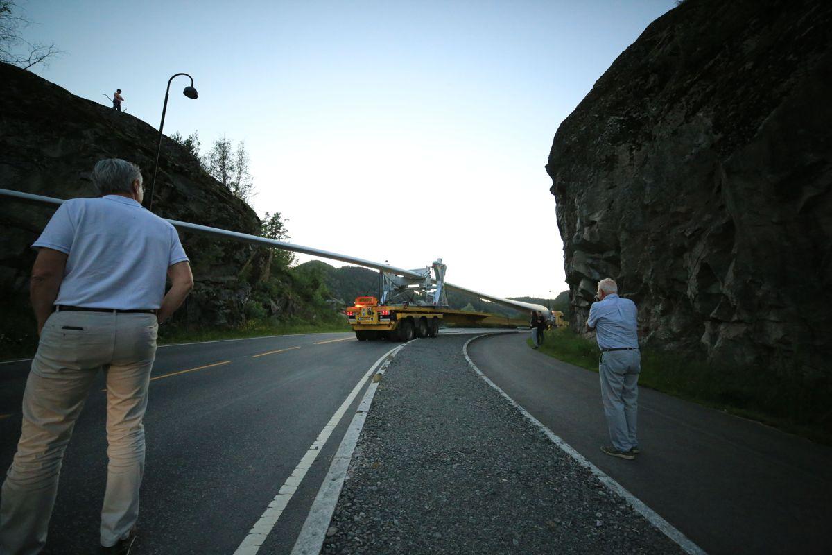 Tonstad Vindpark - transport av vingeblad. Foto: Henriette-Sarah Holberg