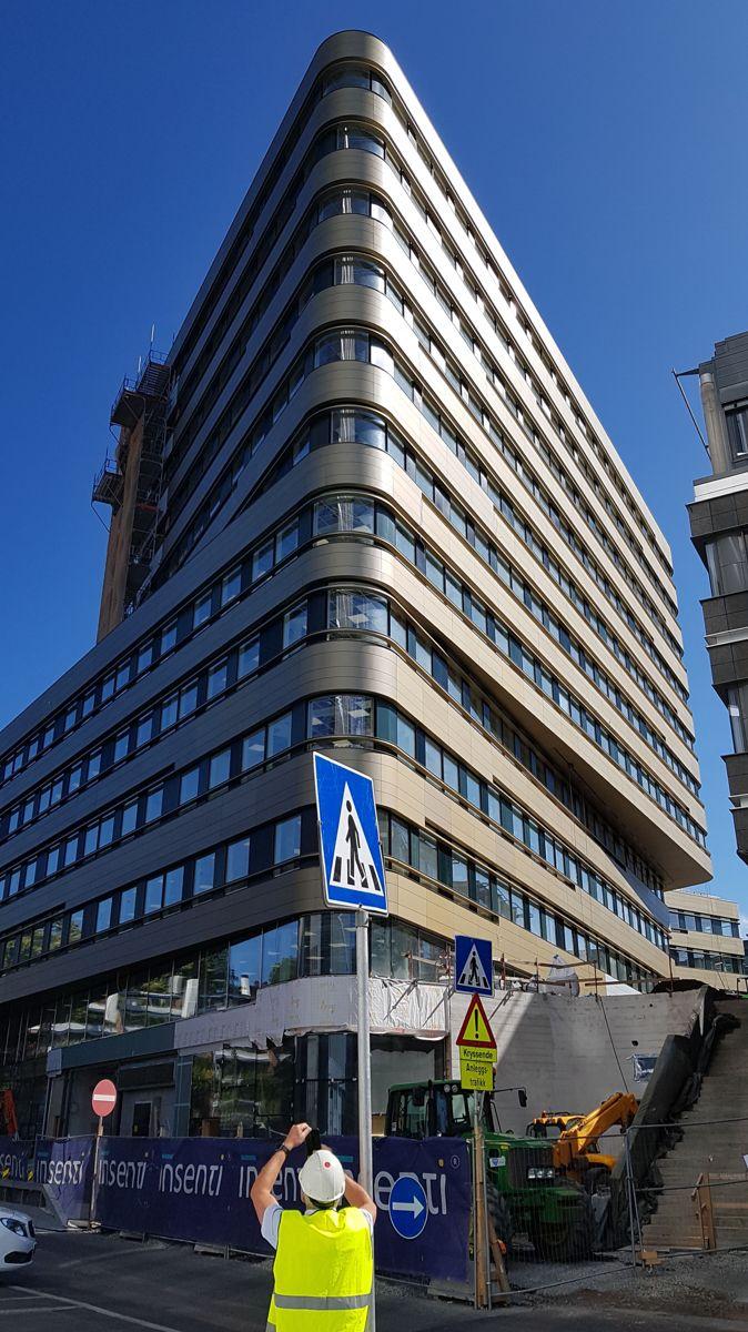 Skøyen Atrium 3 på Skøyen i Oslo hvor Insenti er i ferd med å fullføre et kontorbygg i tolv etasjer for Schage Eiendom. Foto: Tron Tangeraas