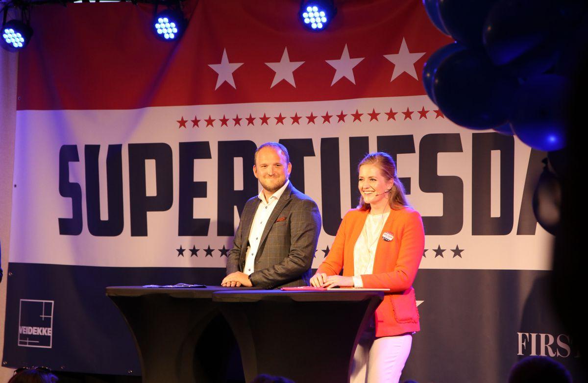 Samferdselsminister Jon Georg Dale duellerte mot stortingsrepresentant Emilie Enger Mehl om bompenger. Foto: Arve Brekkhus