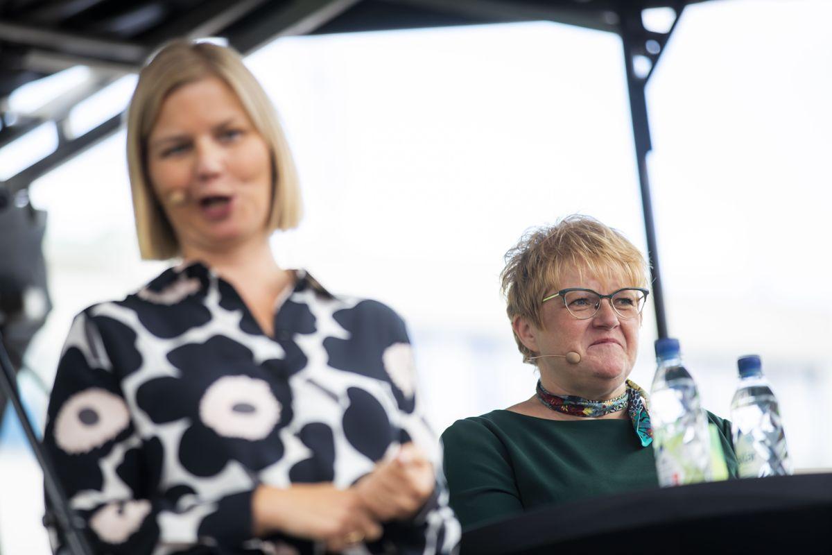 Guri Melby og partileder Trine Skei Grande under partitimen til Venstre under Arendalsuka onsdag. Foto: Håkon Mosvold Larsen / NTB scanpix