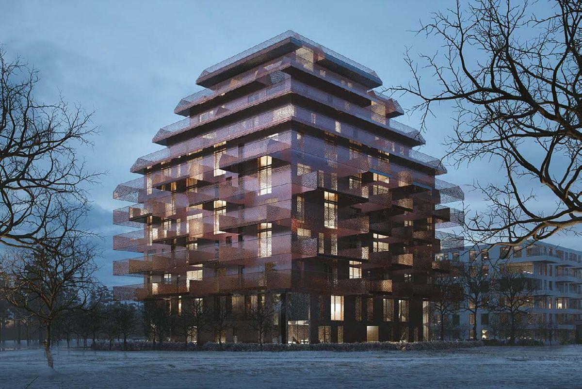 Et av byggene ser ut som en kobberlampe. Illustrasjon: Reiulf Ramstad Architects/EVE IMAGES