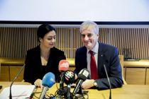 Hadia Tajik og Ap-leder Jonas Gahr Støre legger fram Ap sitt alternative 2020-budsjett mandag i kinosalen i Stortinget. Foto: Vidar Ruud / NTB scanpix