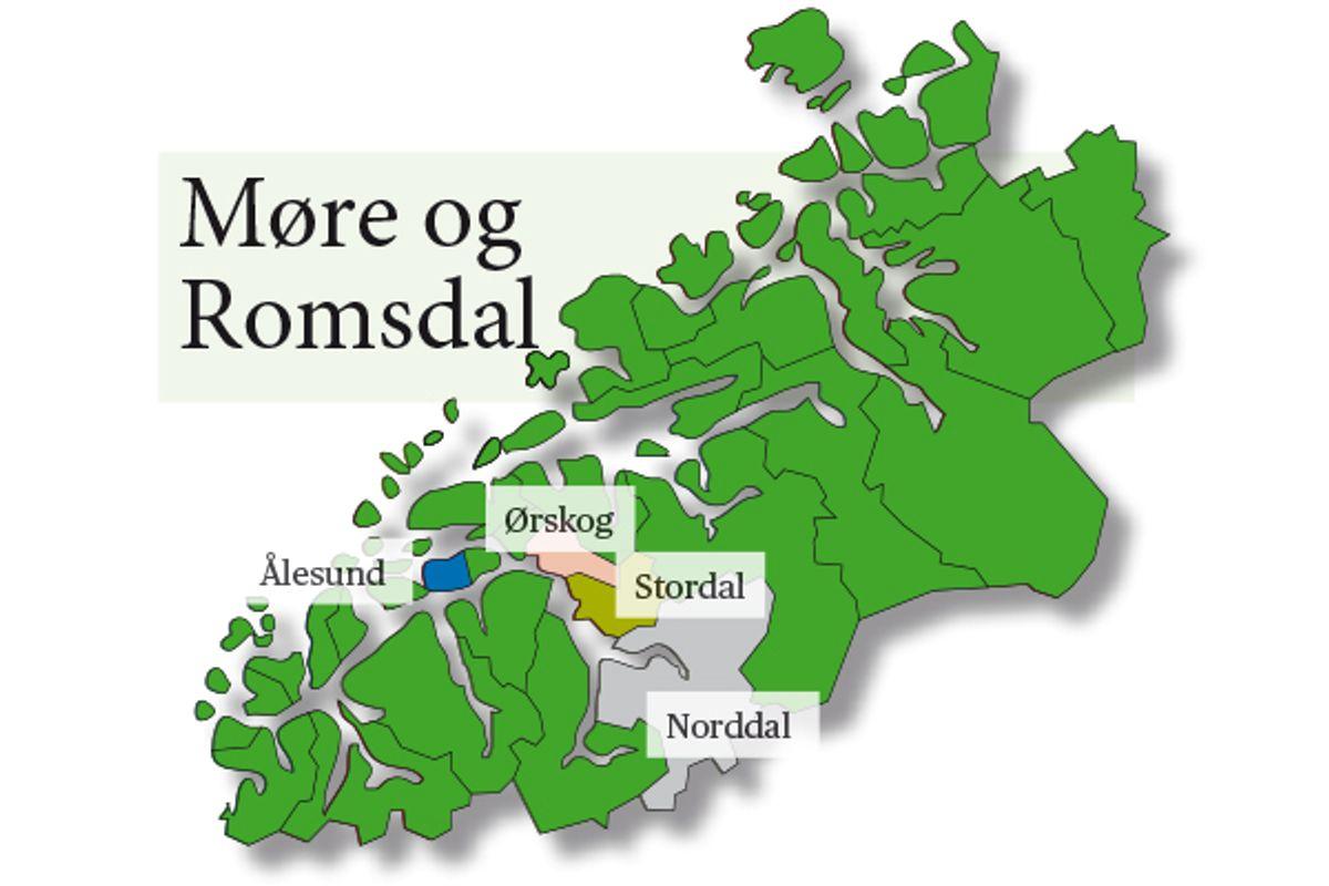 Norddal og Stordal ligger ved Storfjorden - men Storfjord er allerede i bruk som kommunenavn i Troms, uten at det ble brukt som argument fra Kommunaldepartementet for å gå inn for Fjord kommune. Grafikk: Britt Glosvik