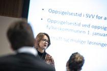 Advokat Gry Brandshaug Dale i KS Advokatene redegjør for status for bemanningsprosessen når fylkeskommunene overtar ansvaret for fylkesveiene ved nyttår.