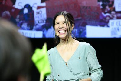 En smilende glad Lan Marie Berg (MDG) under valgvaken MDG. Foto: Håkon Mosvold Larsen / NTB scanpix