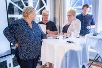 Partilederne Erna Solberg (H), Siv Jensen (Frp), Trine Skei Grande (V) og Kjell Ingolf Ropstad (KrF) sliter med å bli enige om en bompengeløsning. Under Arendalsuka forsøkte de å sette regjeringens likeverdsreform på dagsordenen. Foto: Håkon Mosvold Larsen / NTB scanpix