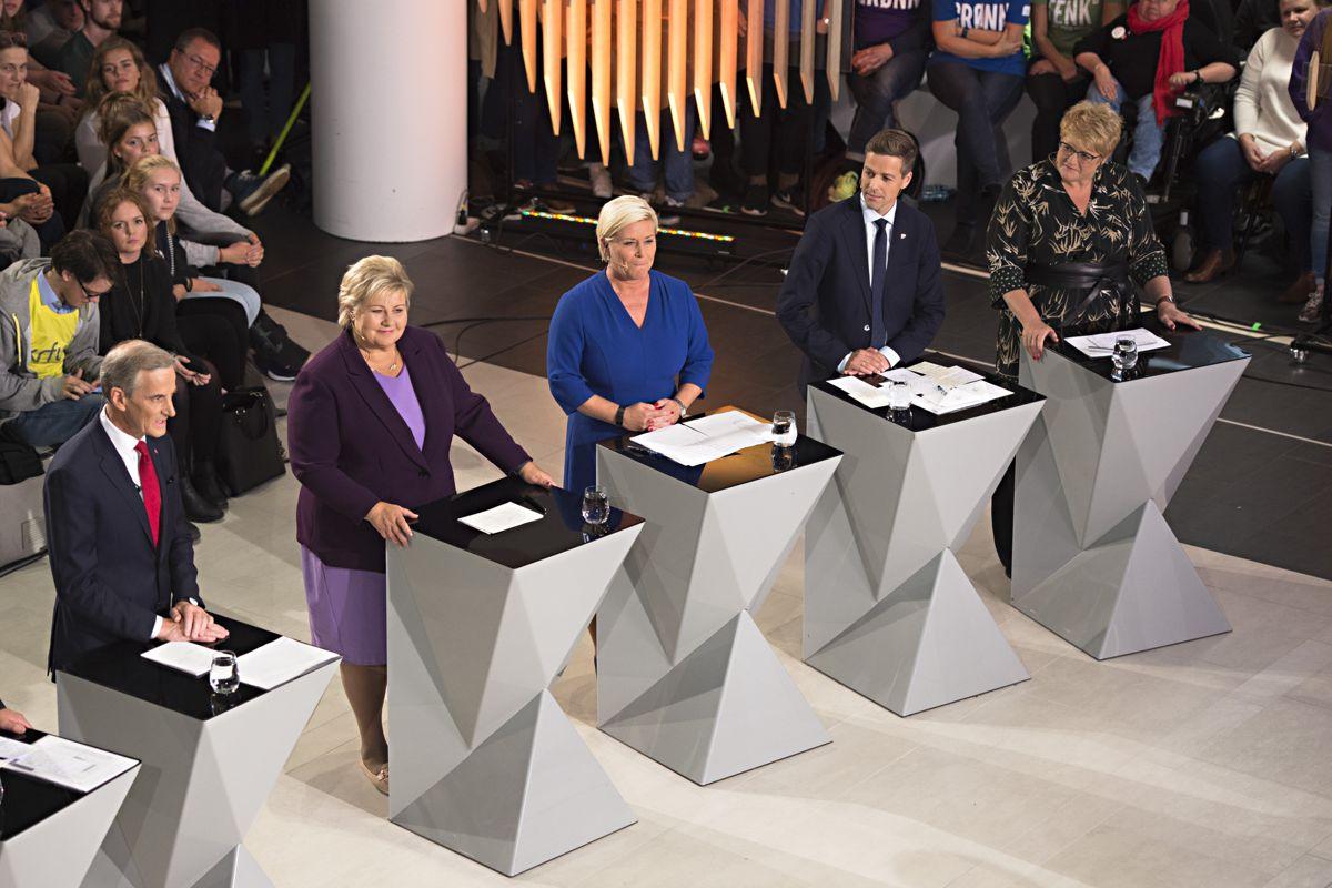 FNB får ikke delta fullt ut i NRKs partilederdebatt i Arendal neste mandag, men får være med i en bolk om bompenger. Her fra partilederdebatten i Bergen i 2017. Foto: Marit Hommedal/NTB scanpix