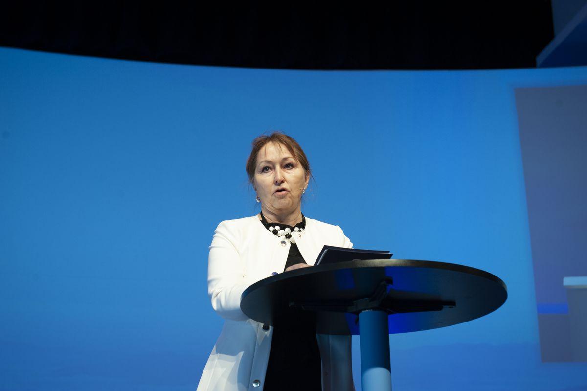 På KS' kommunalpolitiske toppmøte 9. april utfordret KS-leder Gunn Marit Helgesen lokale og nasjonale politikere til respektfull debatt i valgkampen. En måned senere mener hun Frp-leder Siv Jensen har tråkket over. Foto: Terje Lien