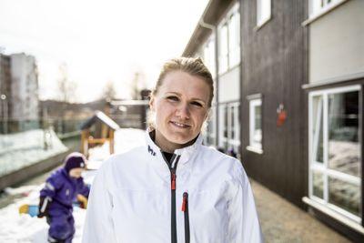Senterbarnehagen på Fjell i Drammen er én av barnehagene som Malin Larsen skal rekruttere barn med minoritetsspråklig bakgrunn til. Foto: Magnus Knutsen Bjørke