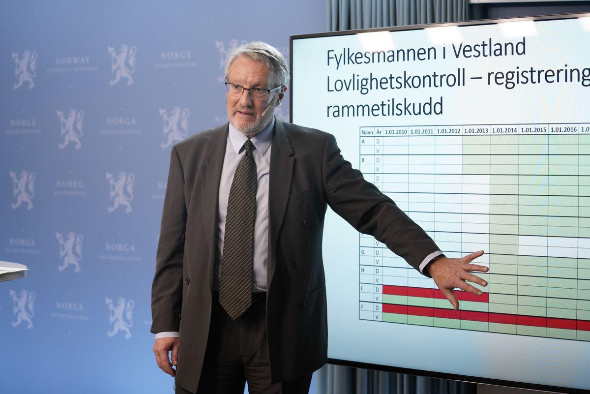 Rune Fjeld, spesialrådgiver hos Fylkesmannen i Vestland, presenterer konklusjonene etter granskingen av Tolga-saken under rapportframleggelsen.  Foto: Fredrik Hagen/NTB scanpix
