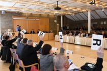 Fylkestinget i Finnmark skal stemme over søksmål mot staten og valg til fellesnemnd neste uke. Her fra møtet i mars. Foto: Maria Borch Mietinen, Finnmark fylkeskommune