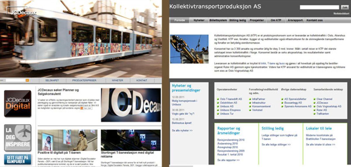 Faksimile av nettsidene til JCDecaux og Kollektivtransportproduksjon AS. (Montasje)