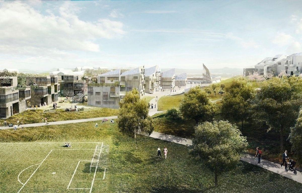Zero Village Bergen skal bli Norges største nullutslippsprosjekt for boliger. Gjennom tett samarbeid med forskningssenteret FME ZEN skal prosjektet sette nye standarder for boligbygging i Norge og internasjonalt. Illustrasjon: Snøhetta